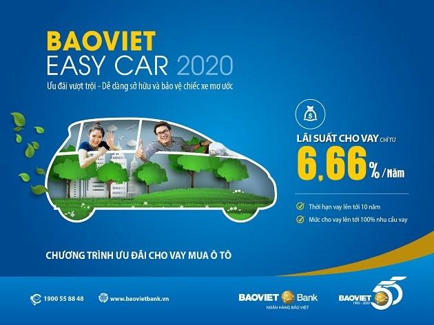 Khách hàng tham gia chương trình BAOVIET Easy Car 2020 còn được Tổng Công ty Bảo hiểm Bảo Việt cho vay phí bảo hiểm vật chất xe