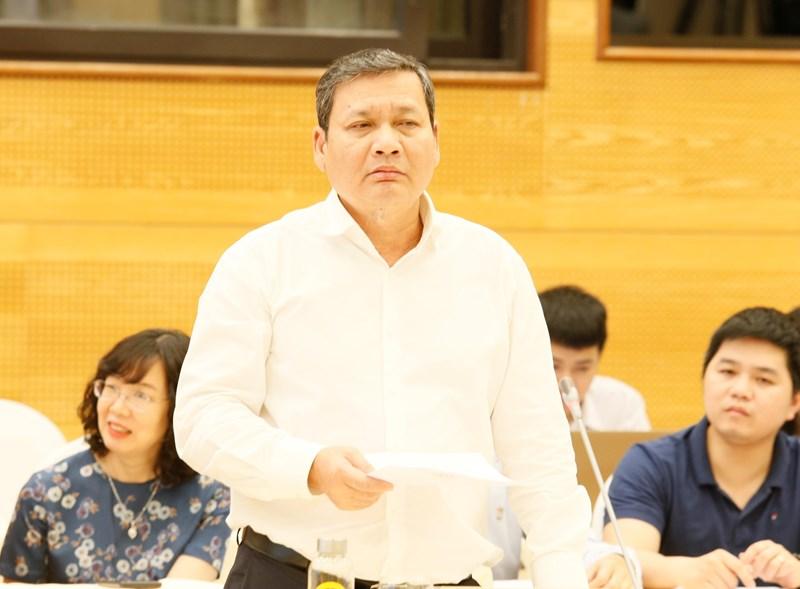 Phó Tổng cục trưởng Tổng cục Thuế Phi Vân Tuấn tại buổi họp báo Chính phủ