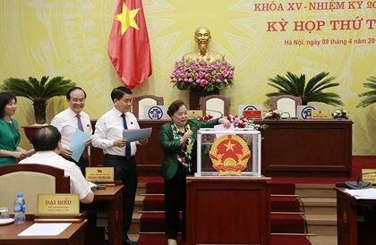 Đại biểu HĐND TP Hà Nội bỏ phiếu kiện toàn các chức danh thuộc thẩm quyền của HĐND thành phố (Ảnh: KTĐT)