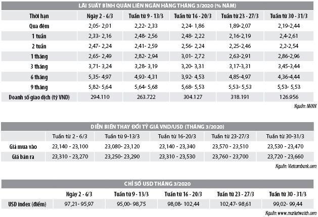 Số liệu thị trường tiền tệ tháng 3/2020 - Ảnh 1