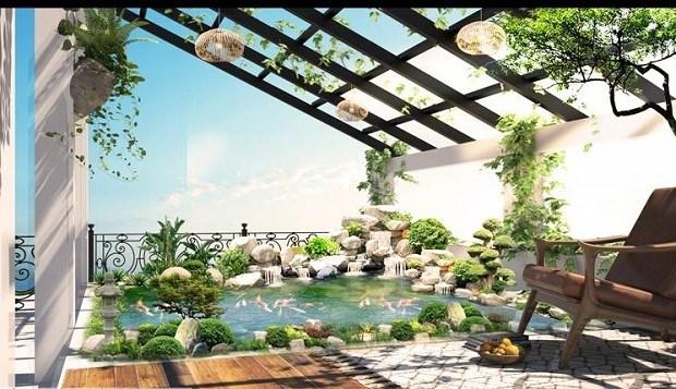 Một hồ nước trên sân thượng vừa giúp ngôi nhà dịu mát hơn và cũng tạo thêm vẻ mỹ quan.