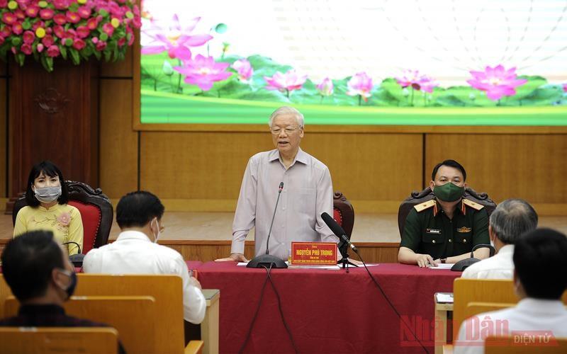 Tổng Bí thư Nguyễn Phú Trọng, Bí thư Quân ủy Trung ương phát biểu tại hội nghị. (Ảnh: ĐĂNG KHOA)