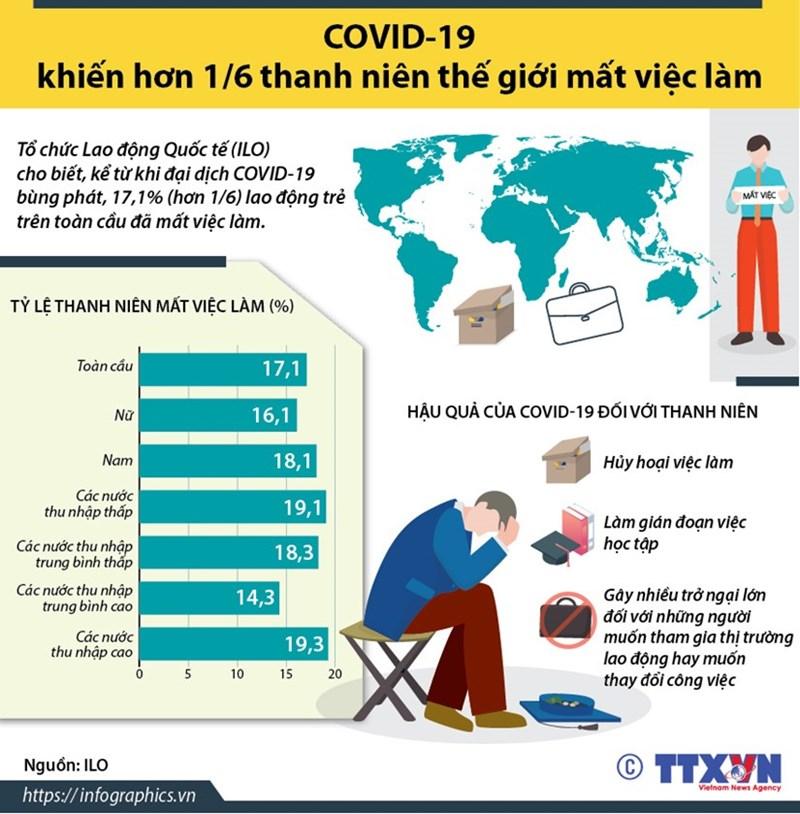 [Infographics] COVID-19 khiến hơn 17% thanh niên thế giới mất việc làm - Ảnh 1