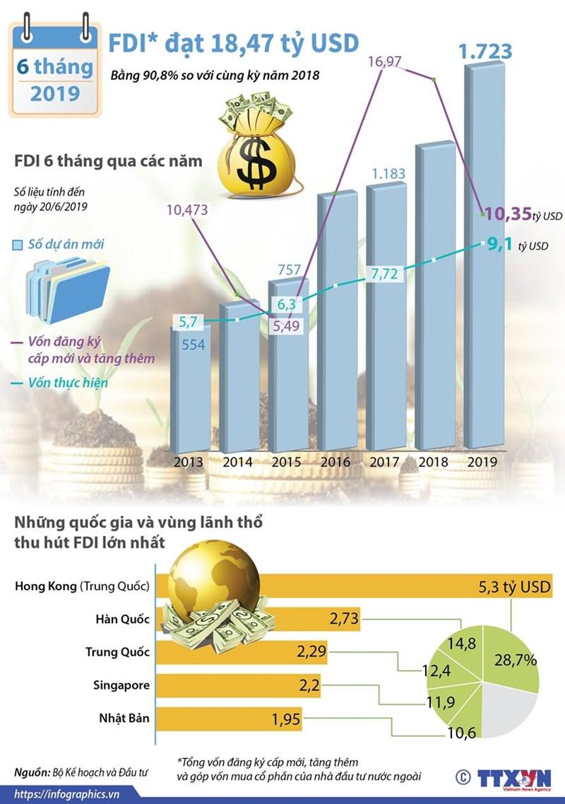 [Infographics] Vốn FDI vào Việt Nam đạt hơn 18 tỷ USD trong 6 tháng đầu năm - Ảnh 1
