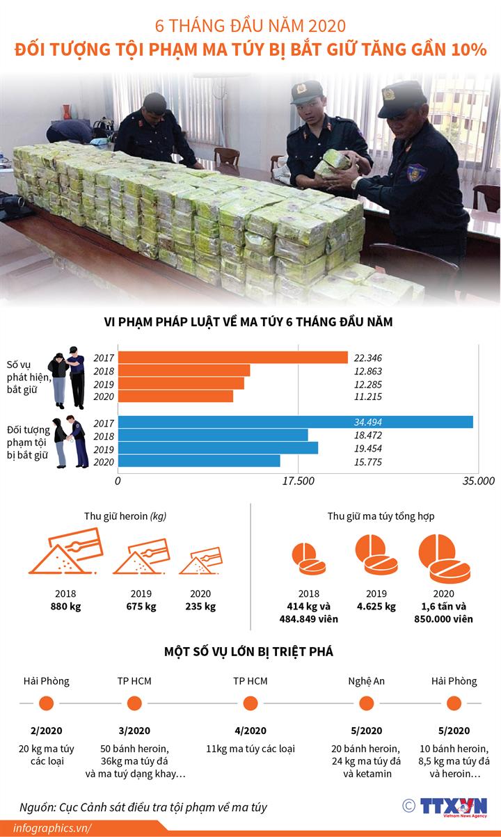 [Infographics] 6 tháng đầu năm 2020, đối tượng tội phạm ma túy bị bắt giữ tăng gần 10% - Ảnh 1