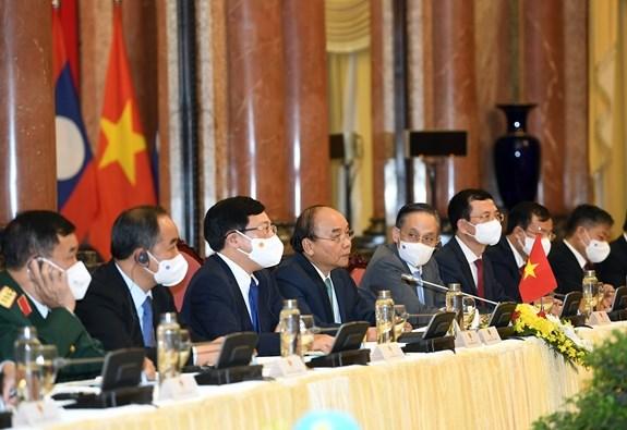 Chủ tịch nước Nguyễn Xuân Phúc tại cuộc hội kiến. Ảnh: TRỌNG HẢI