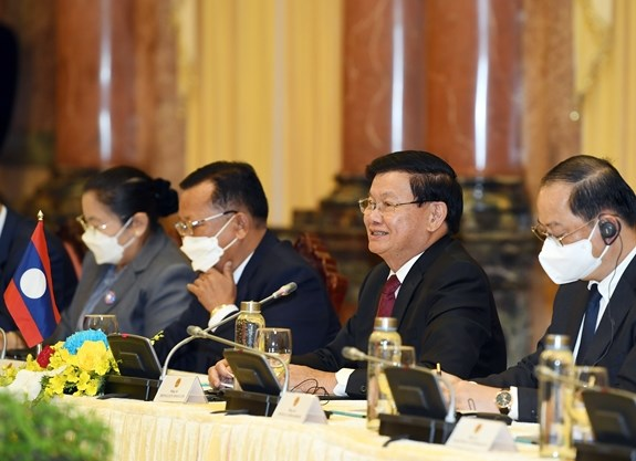 Tổng Bí thư, Chủ tịch nước Lào Thongloun Sisoulith tại cuộc hội kiến. Ảnh: TRỌNG HẢI