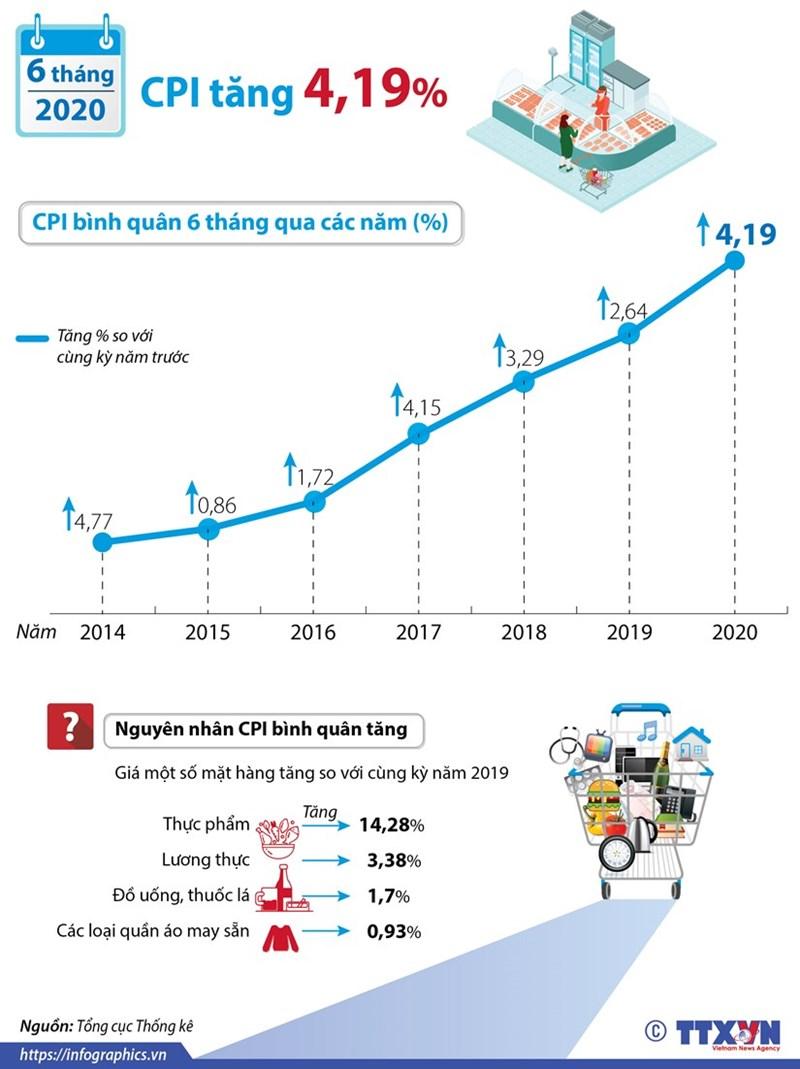[Infographics] CPI bình quân 6 tháng đầu năm tăng 4,19% - Ảnh 1