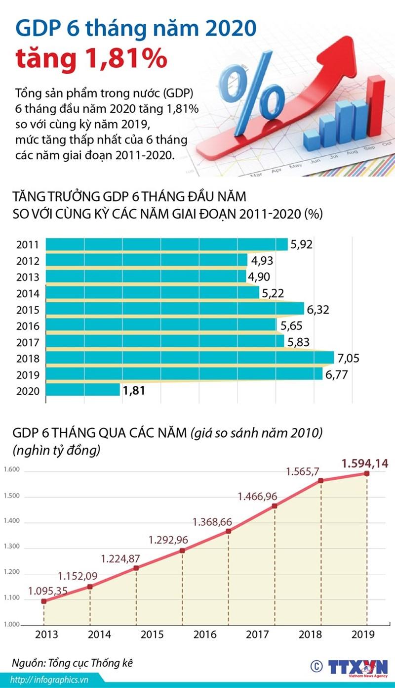 [Infographics] Tổng sản phẩm trong nước 6 tháng đầu năm tăng 1,81% - Ảnh 1