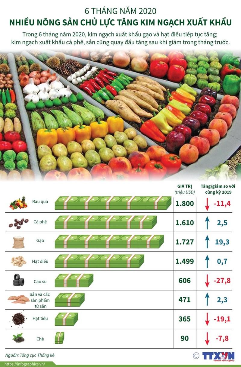 [Infographics] Nhiều nông sản chủ lực tăng kim ngạch xuất khẩu - Ảnh 1