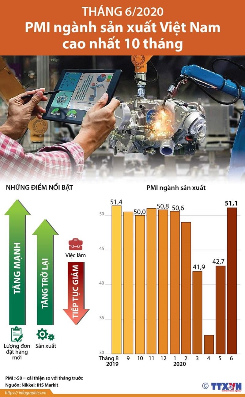[Infographics] Tháng 6: PMI ngành sản xuất Việt Nam cao nhất 10 tháng - Ảnh 1