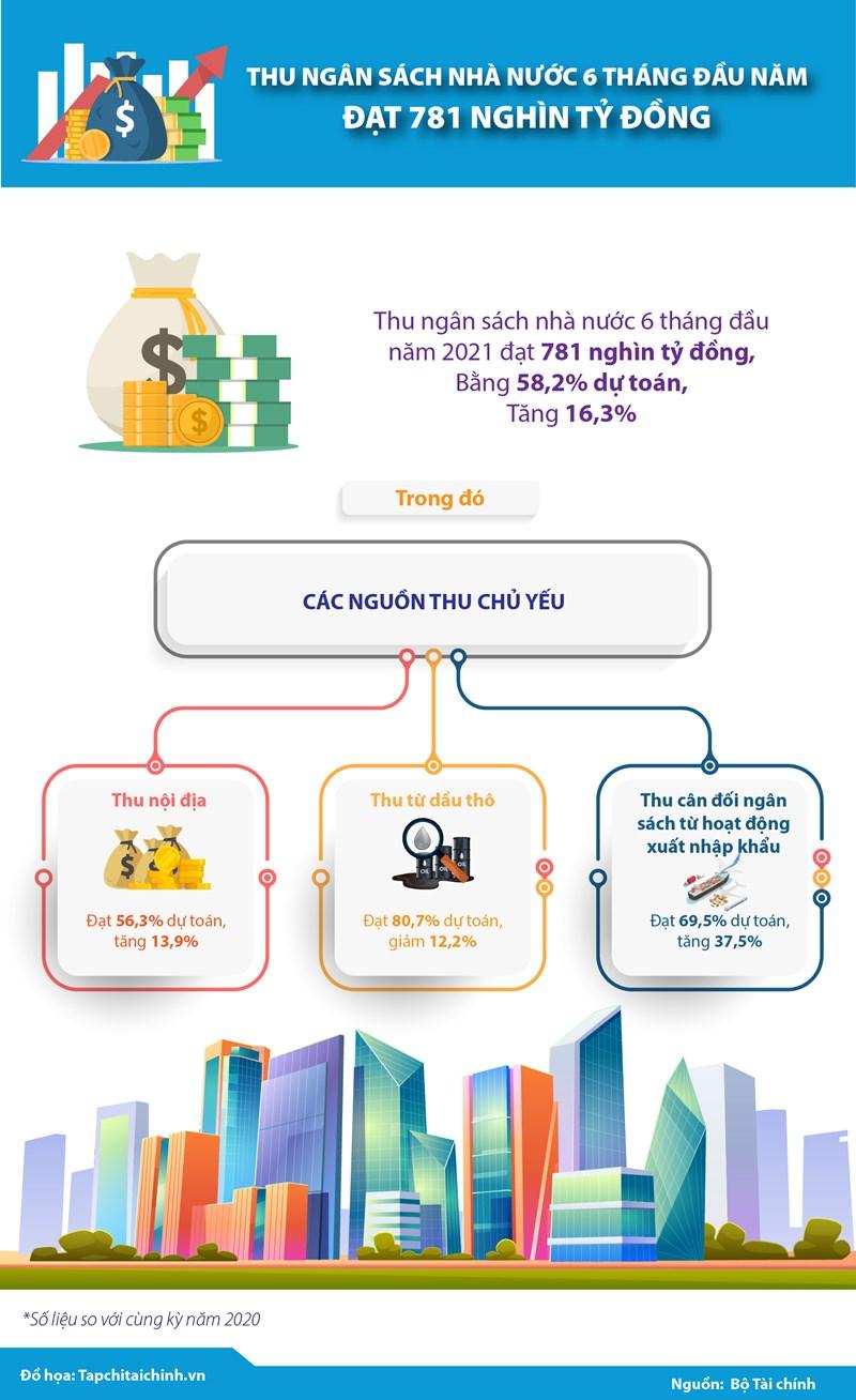 [Infographics] Thu ngân sách nhà nước 6 tháng đầu năm đạt 781 nghìn tỷ đồng  - Ảnh 1
