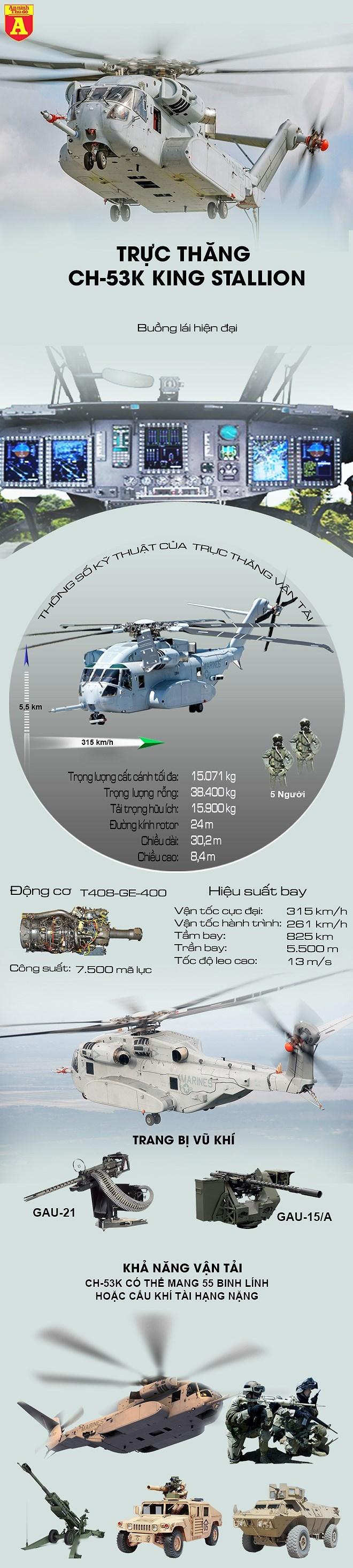 """[Infographics] Sức mạnh kinh hoàng của """"quái thú"""" CH-53K Mỹ - Ảnh 1"""