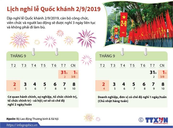 [Infographic] Lịch nghỉ lễ Quốc khánh 2/9/2019 - Ảnh 1