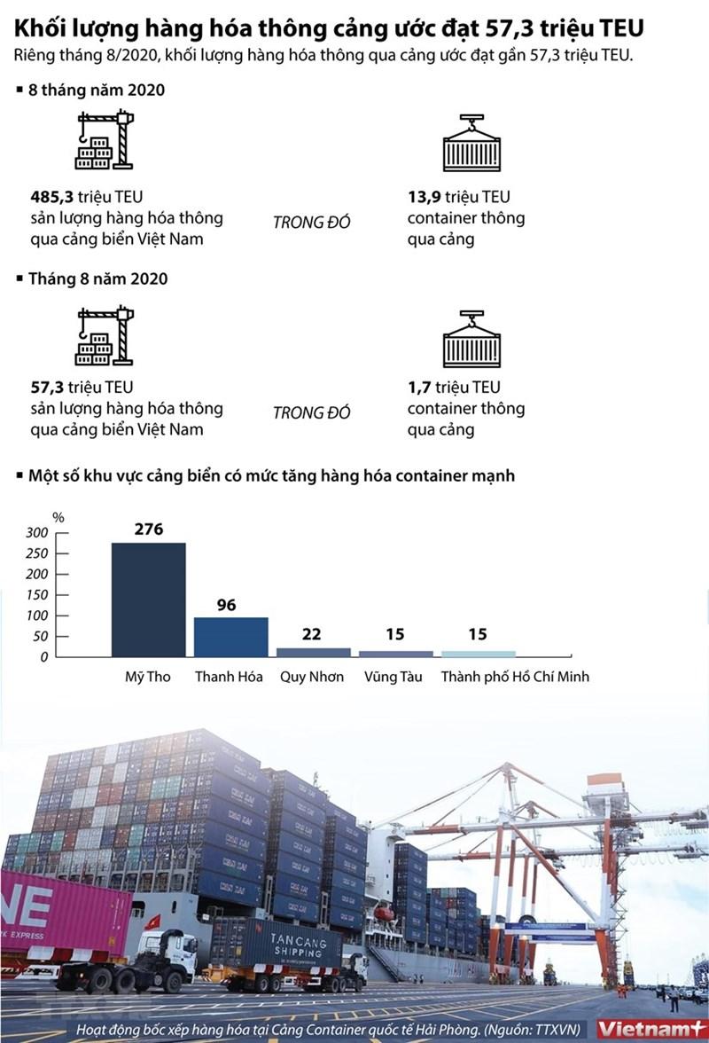 [Infographics] Khối lượng hàng hóa thông cảng ước đạt 57,3 triệu TEU - Ảnh 1