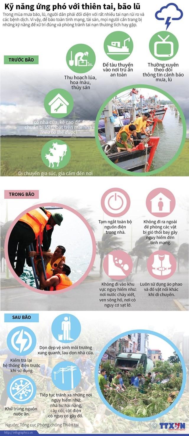 [Infographics] Kỹ năng ứng phó với thiên tai và bão lũ  - Ảnh 1