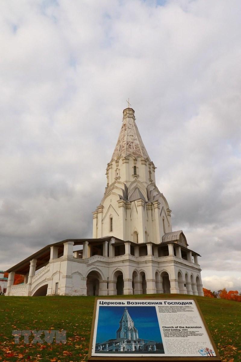 Nhà thờ Vozneseniya Gospodnya trong công viên Kolomensk được UNESCO công nhận là di sản thế giới từ năm 1994. (Ảnh: Trần Hiếu/TTXVN)