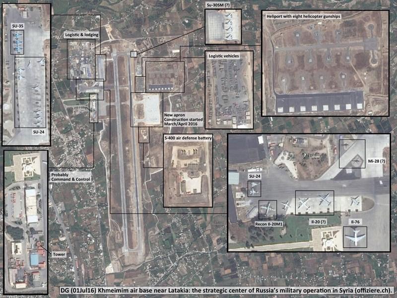 Sân bay quân sự Hmeimim tại tỉnh Latakia của Syria hiện là căn cứ quân sự nước ngoài lớn và quan trọng nhất của Nga trên phạm vi toàn thế giới, họ có mặt tại đây kể từ khi tham chiến vào cuối năm 2015