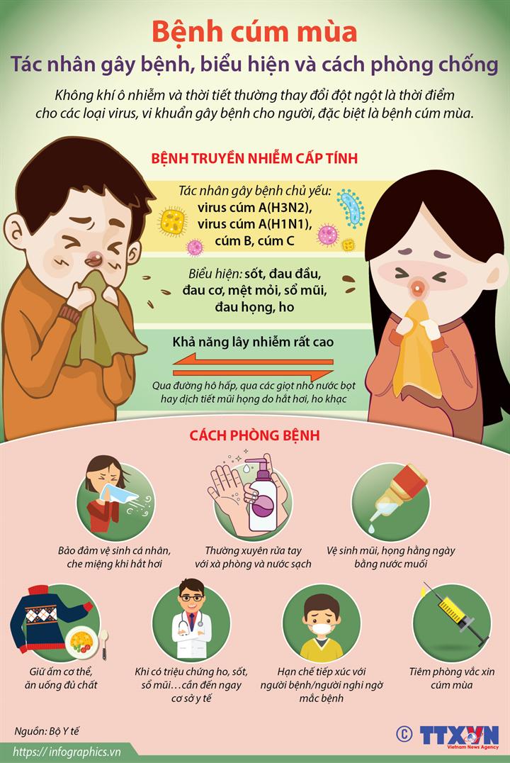 [Infographics] Bệnh cúm mùa: Tác nhân gây bệnh, biểu hiện và cách phòng chống - Ảnh 1