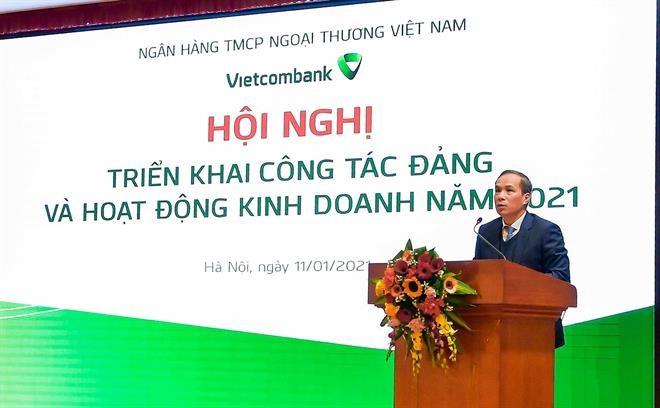 Phó Thống đốc NHNN Việt Nam Đoàn Thái Sơn đánh giá cáo những kết quả Vietcombank đạt được trong năm 2020