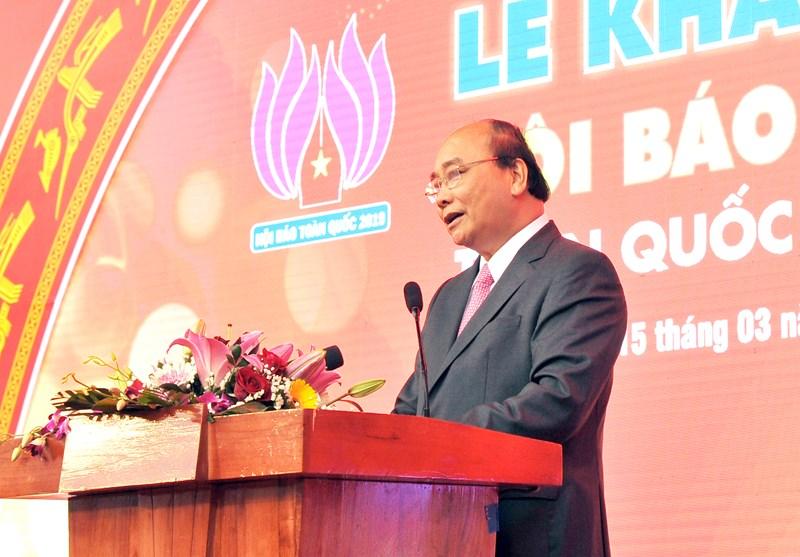 Thủ tướng Nguyễn Xuân Phúc phát biểu chào mừng Hội báo toàn quốc 2019.