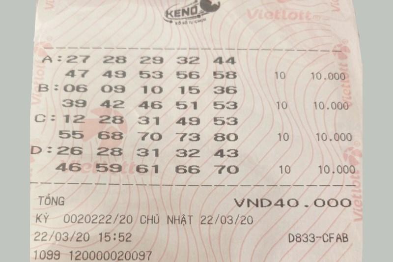 Vé xổ số tự chọn Keno trúng thưởng bậc 10/10 trị giá 2 tỷ đồng.