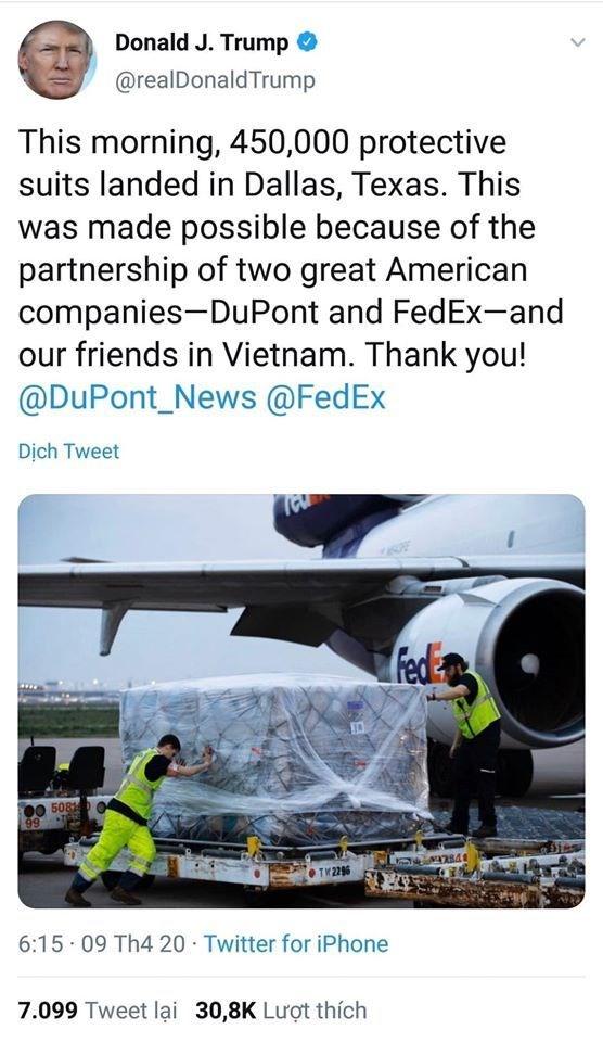COVID-19: Tổng thống Mỹ đánh giá cao sự phối hợp của Việt Nam  - Ảnh 1