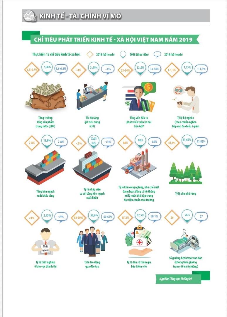 [Infographic] Chỉ tiêu phát triển kinh tế - xã hội Việt Nam năm 2019 - Ảnh 1