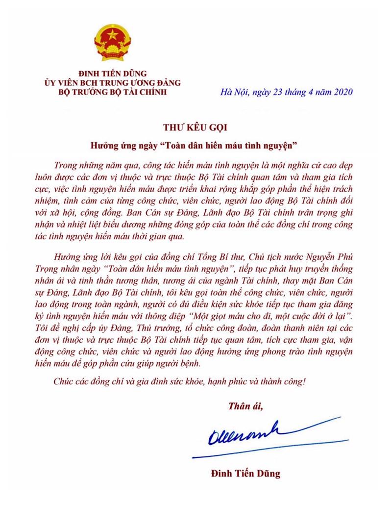 Bộ trưởng Đinh Tiến Dũng gửi thư kêu gọi cán bộ ngành Tài chính hiến máu tình nguyện - Ảnh 1