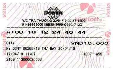 Vé trúng thưởng Jackpot 1 sản phẩm Power 6/55 kỳ QSMT số 00268 của ông L.B.Đ