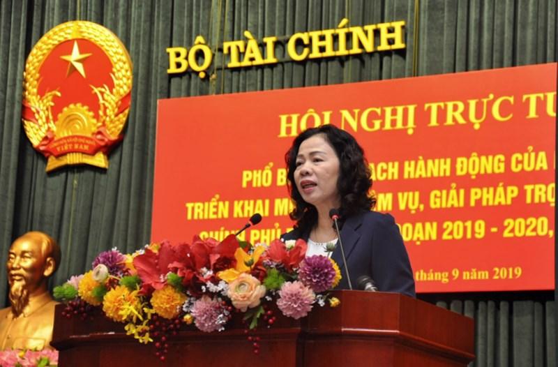 Thứ trưởng Bộ Tài chính Vũ Thị Mai chủ trì Hội nghị trực tuyến sáng ngày 12/9/2019