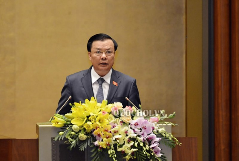 Bộ trưởng Đinh Tiến Dũng phát biểu giải trình, tiếpthu về các nội dung được đóng góp chodự thảo Luật Chứng khoán (sửa đổi).