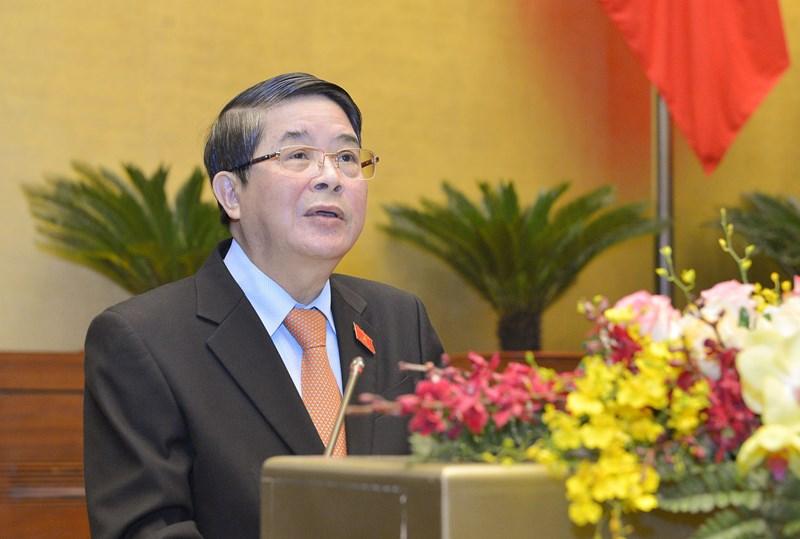 Chủ nhiệm Ủy ban Tài chính - Ngân sách của Quốc hội Nguyễn Đức Hải trình bày Báo cáo thẩm tra. Nguồn: Quochoi.vn