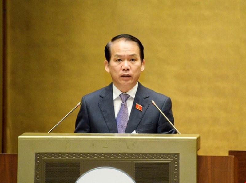 Chủ nhiệm Ủy ban Pháp luật của Quốc hội Hoàng Thanh Tùng trình bày Báo cáo thẩm tra về cơ cấu tổ chức của Chính phủ nhiệm kỳ 2021-2026.