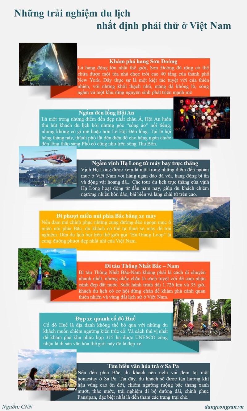 [Infographic] Những trải nghiệm du lịch nhất định phải thử ở Việt Nam - Ảnh 1