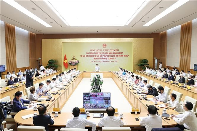 Toàn cảnhHội nghị trực tuyến Thủ tướng Chính phủ với cộng đồng doanh nghiệp và các địa phương.
