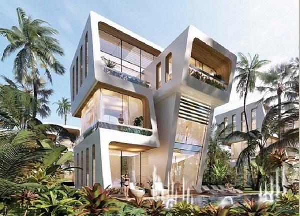 Các căn biệt thự sở hữu thiết kế độc đáo, đưa thiên nhiên vào từng không gian sống. Ảnh: Hồng Hạnh
