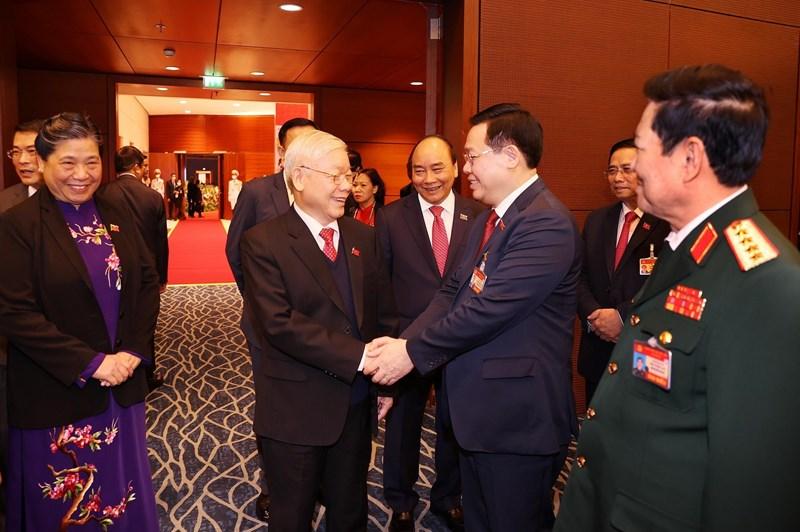 Tổng Bí thư, Chủ tịch nước Nguyễn Phú Trọng và các đại biểu tới dự phiên trù bị Đại hội Đại biểu toàn quốc lần thứ XIII.Ảnh: VGP/Nhật Bắc