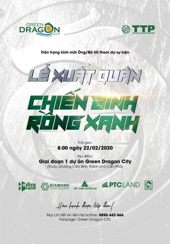 Lễ Xuất quân Chiến Binh Rồng Xanh sẽ diễn ra ngày 20/02/2020 tại Giai đoạn I Green Dragon City.