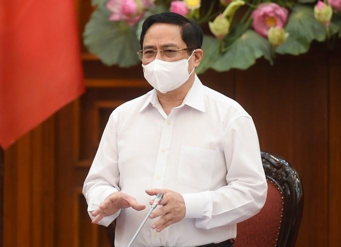 Thủ tướng Chính phủ Phạm Minh Chính tại cuộc họp Thường trực Chính phủ về phòng, chống dịch COVID-19. Ảnh: Chinhphu.vn