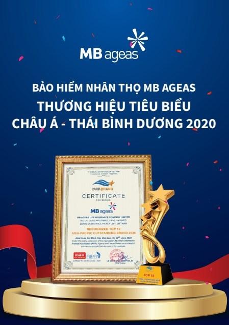"""Giải thưởng """"Thương hiệu tiêu biểu châu Á - Thái Bình Dương 2020"""" củaMB Ageas Life."""