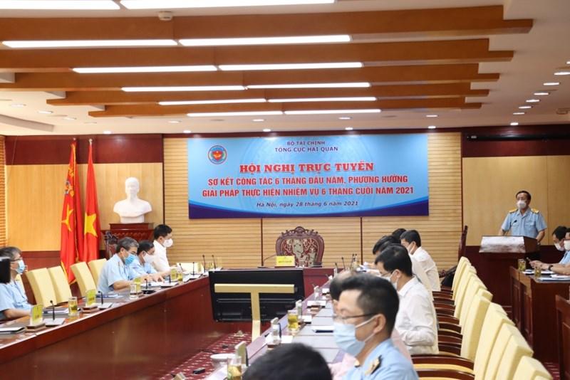 Quang cảnh Hội nghị tại điểm cầu trụ sở Tổng cục Hải quan. Ảnh: haiquanonline.com.vn.