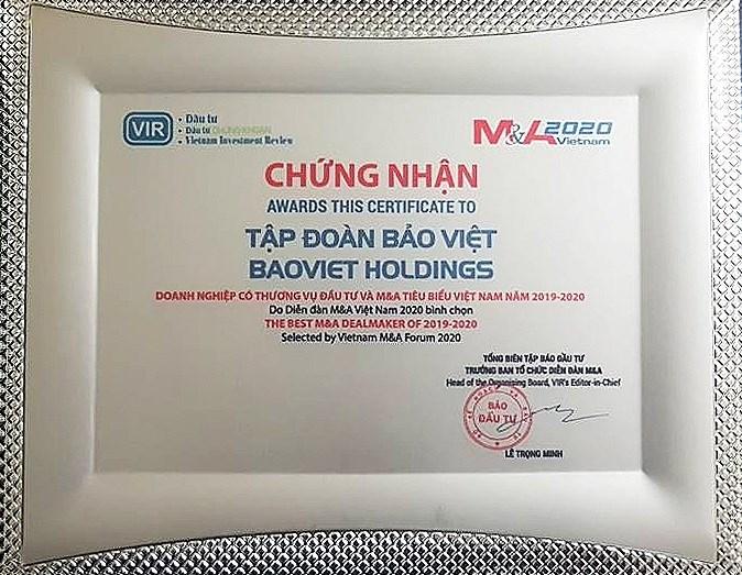 Thương vụ Sumitomo Life mua cổ phần Bảo Việt đã được vinh danh là Doanh nghiệp có thương vụ đầu tư và M&A tiêu biểu Việt Nam năm 2019-2020.