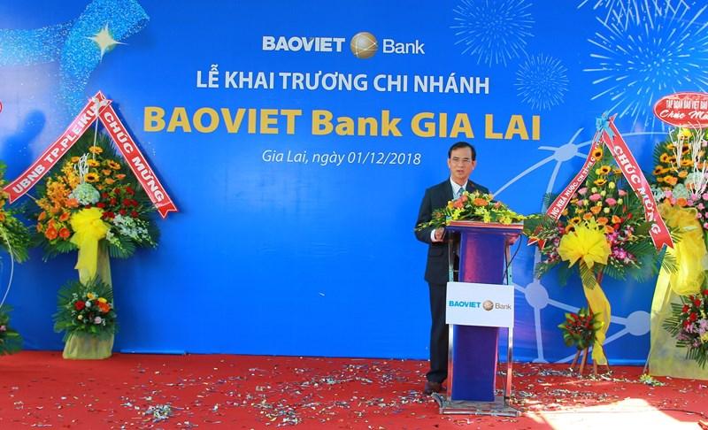 Đại diện lãnh đạo Ngân hàng Nhà nước chi nhánh Gia Lai phát biểu tại Lễ Khai trương.