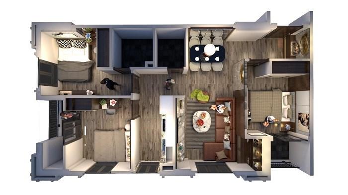 Căn góc 3 phòng ngủ Sai Gon Sky với thiết kế hiện đại, 100% đón gió và ánh sáng tự nhiên.