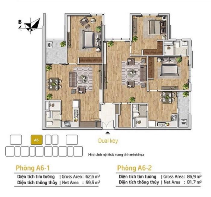 Phối cảnh mặt bằng căn hộ Dual key, dự án Amber Riverside, 622 Minh Khai