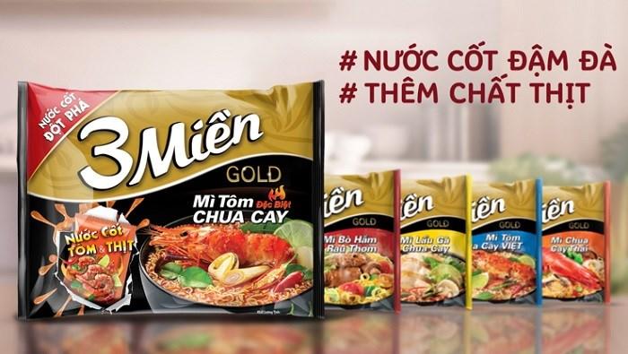 Mì 3 Miền với gói nước cốt đột phá từ thịt và xương hầm nhiều giờ là sản phẩm mì ăn liền được yêu thích hàng đầu Việt Nam.