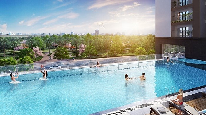 Bể bơi vô cực ngoài trời rộng 328m2.