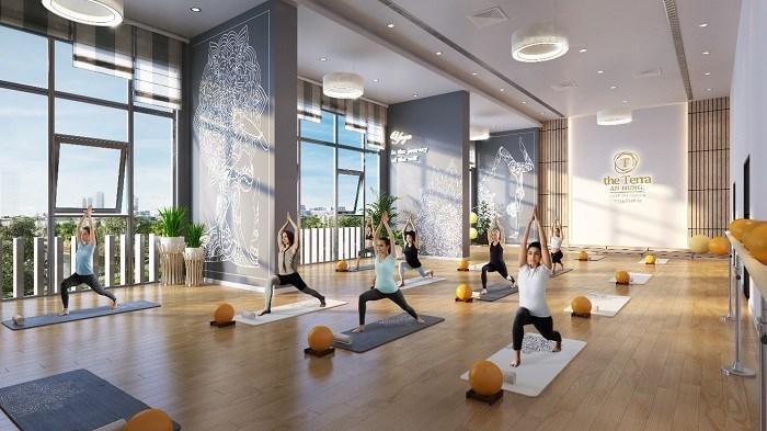 Phòng tập yoga đem đến một không gian thanh tịnh và an yên cho tâm hồn.
