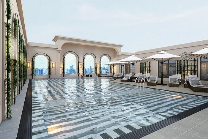 King Palace sở hữu bể bơi ngoài trời cao nhất quận Thanh Xuân.
